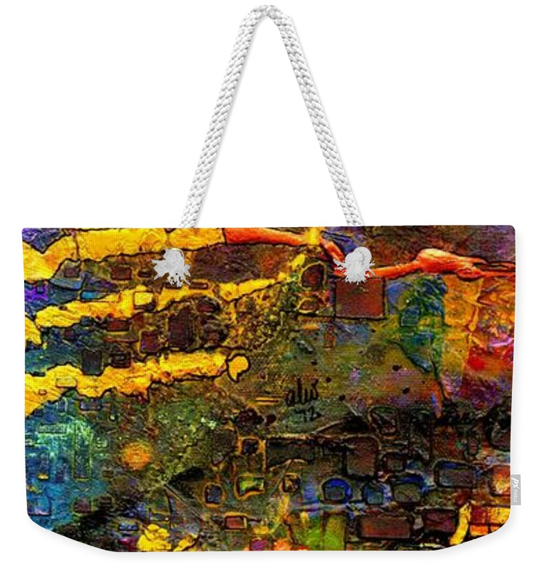 Acrylic Weekender Tote Bag featuring the painting There's Good News In Town - A Lipstick Experiment by Angela L Walker
