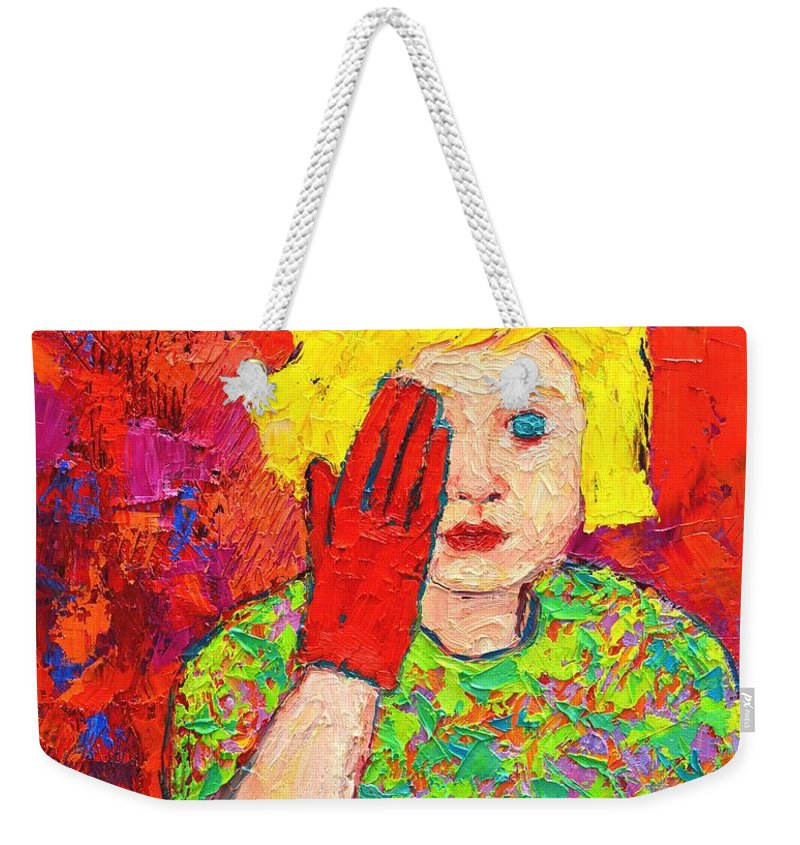 Girl Weekender Tote Bag featuring the painting There's No Comfort In The Truth by Ana Maria Edulescu