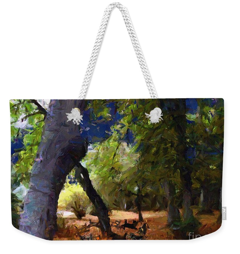 Cats Weekender Tote Bag featuring the painting They Dance By The Light Of The Moon by RC DeWinter