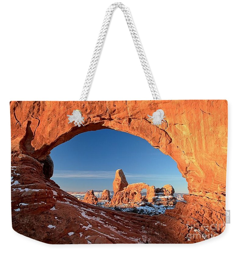 Turret Arch Weekender Tote Bag featuring the photograph Thick Window Arround Turret by Adam Jewell