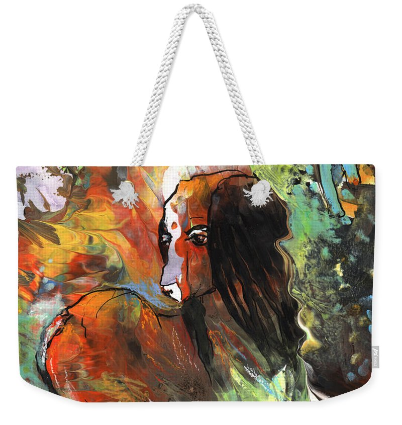 Fantasy Weekender Tote Bag featuring the painting Thinking Of Tolere by Miki De Goodaboom