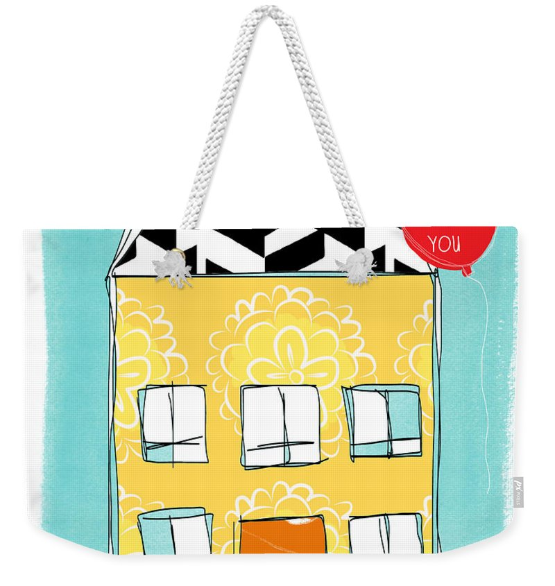 House Weekender Tote Bag featuring the painting Thinking Of You Card by Linda Woods