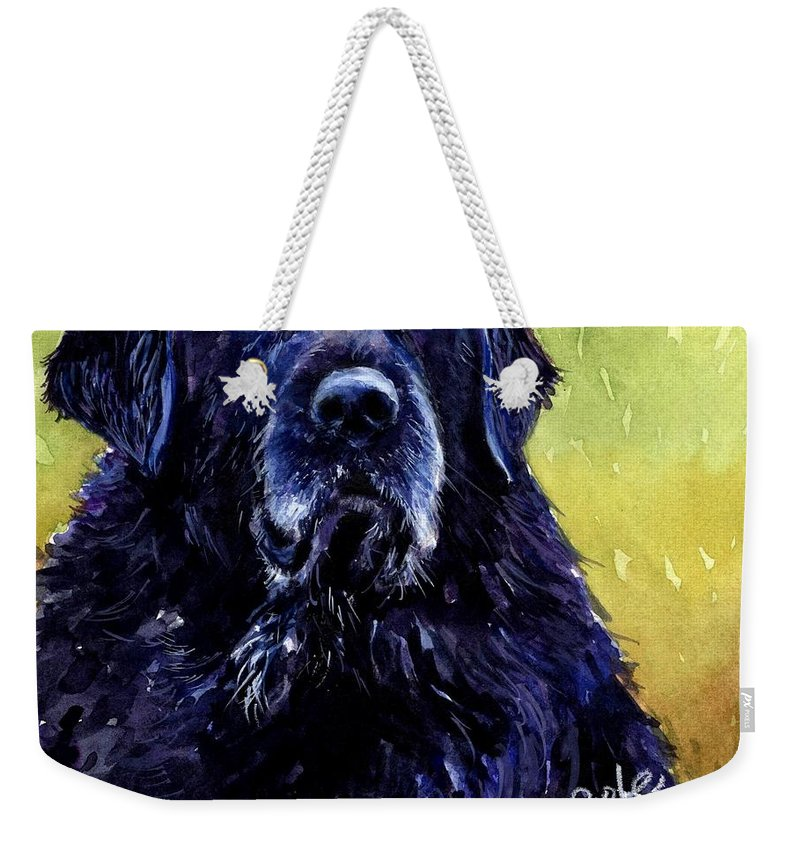 Black Lab Weekender Tote Bag featuring the painting This Is Fred by Molly Poole