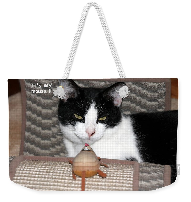 Cat Weekender Tote Bag featuring the photograph This Is My Mouse by Laurel Talabere