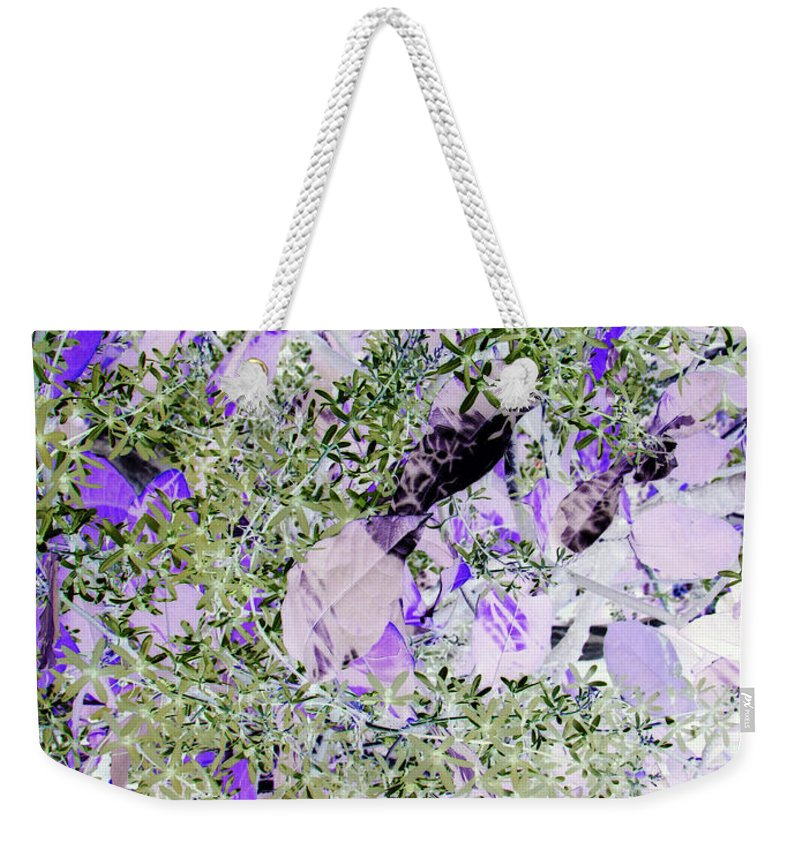 Green Weekender Tote Bag featuring the photograph Thistles by Debi Singer