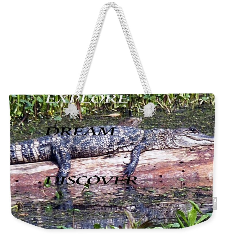 Weekender Tote Bag featuring the photograph Thr Gator by Anthony Walker Sr
