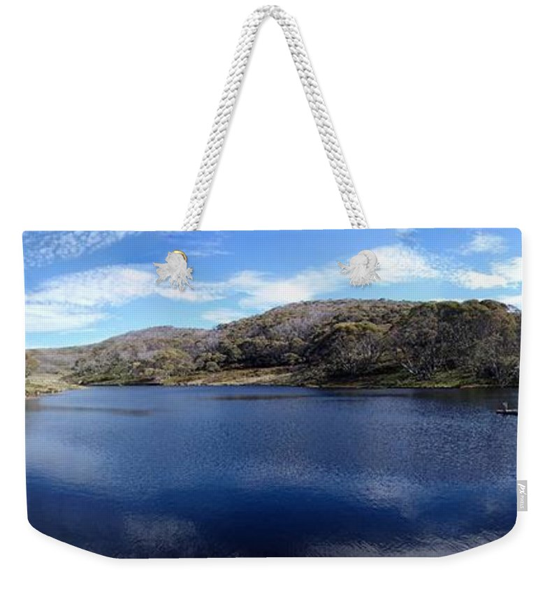 Threadbo Weekender Tote Bag featuring the photograph Threadbo Lake Panorama - Australia by Ian Mcadie
