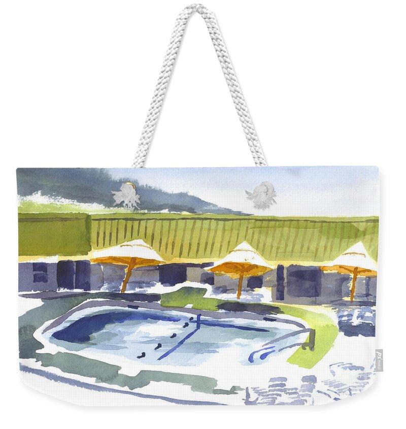 Three Amigos Poolside Weekender Tote Bag featuring the painting Three Amigos Poolside by Kip DeVore