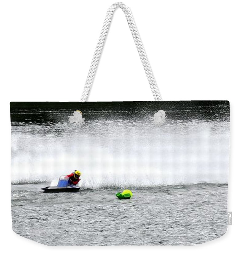 Rogers Weekender Tote Bag featuring the photograph Three Around Turn Two 24461 by Jerry Sodorff