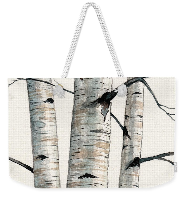 3e68164b55 Birch Tree Weekender Tote Bag featuring the painting Three Birch Trees  Number Two by Christopher Shellhammer