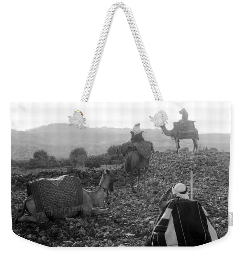 Bethlehem Weekender Tote Bag featuring the photograph Three Camels by Munir Alawi