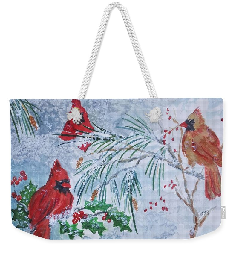 Cardinals Weekender Tote Bag featuring the painting Three Cardinals In The  Snow With Holly by Ellen 21808ef02795a