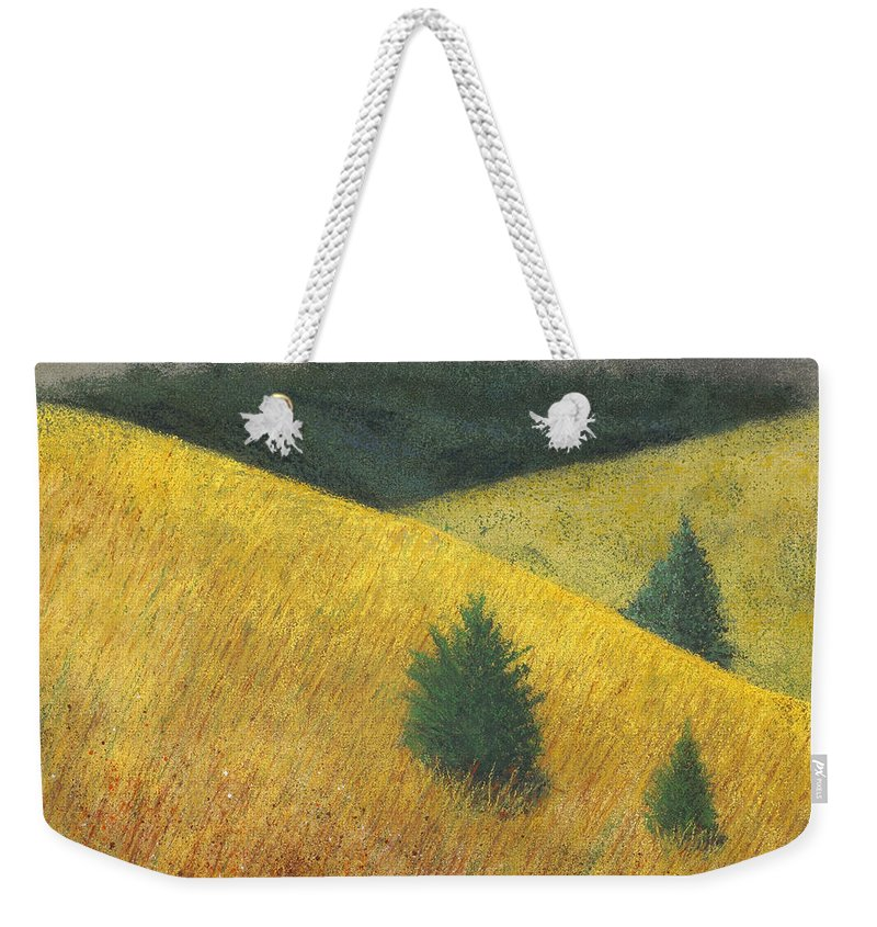 Ozarks Weekender Tote Bag featuring the painting Three Cedars by Garry McMichael