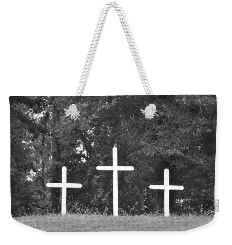 Cross Weekender Tote Bag featuring the photograph Three Crosses by Tara Potts