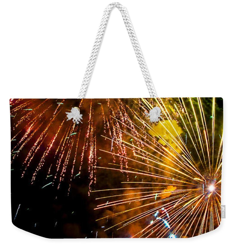 Fireworks Weekender Tote Bag featuring the photograph Three Explosions by Weston Westmoreland