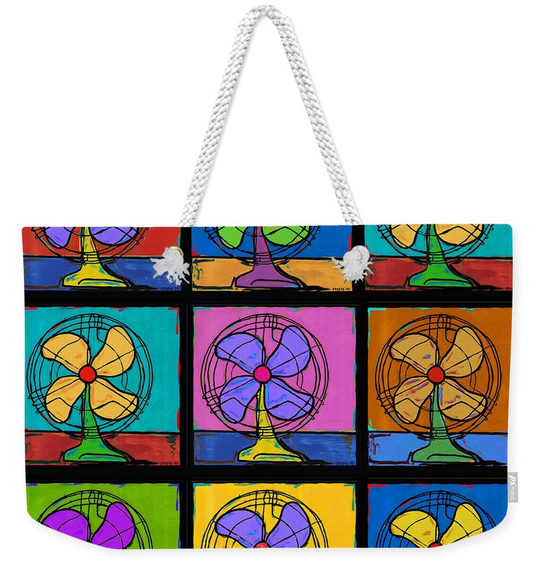 Antique Fans Weekender Tote Bag featuring the painting Three Fans Squared by Dale Moses