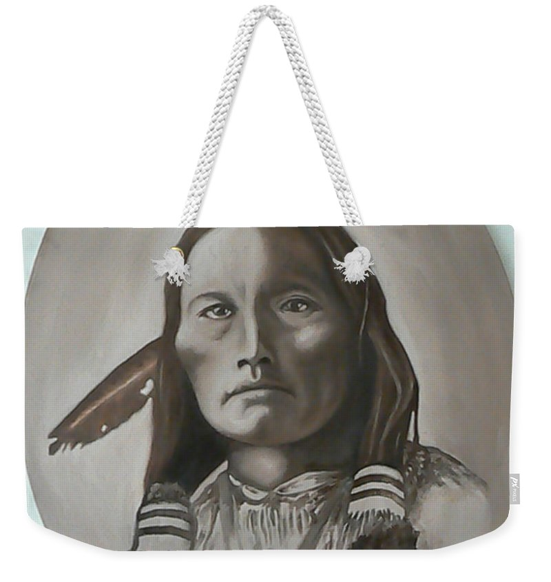Michael Weekender Tote Bag featuring the painting Three Fingers by Michael TMAD Finney