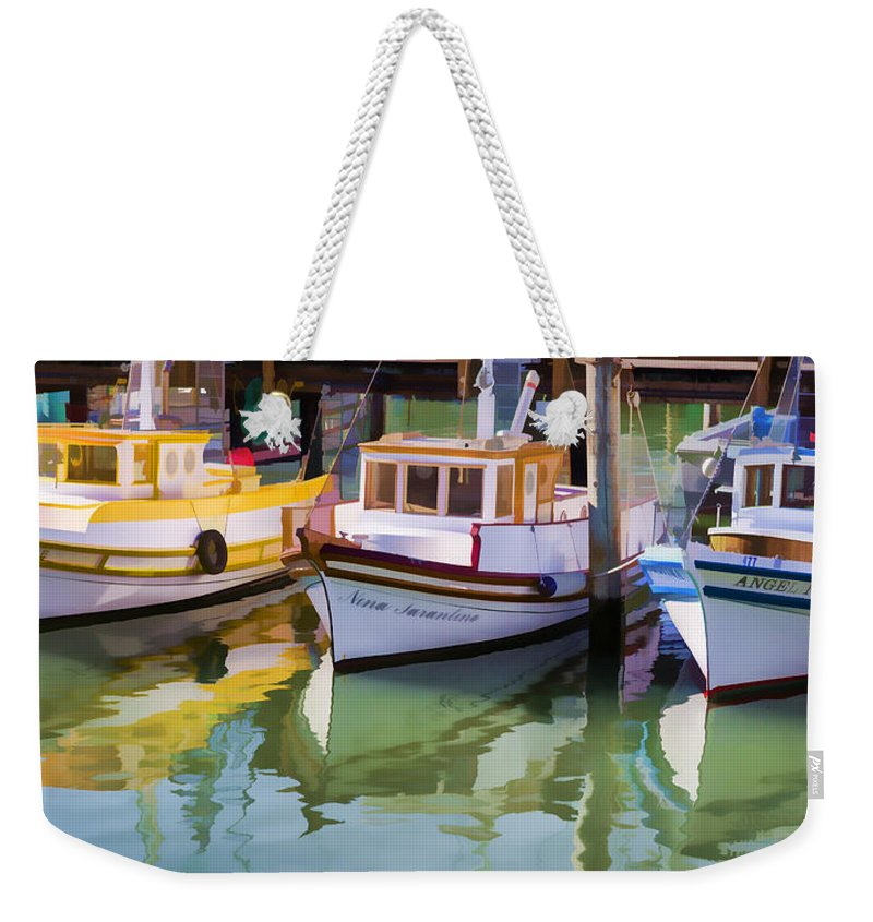 Fishing Boat Weekender Tote Bag featuring the photograph Three Little Boats by Scott Campbell