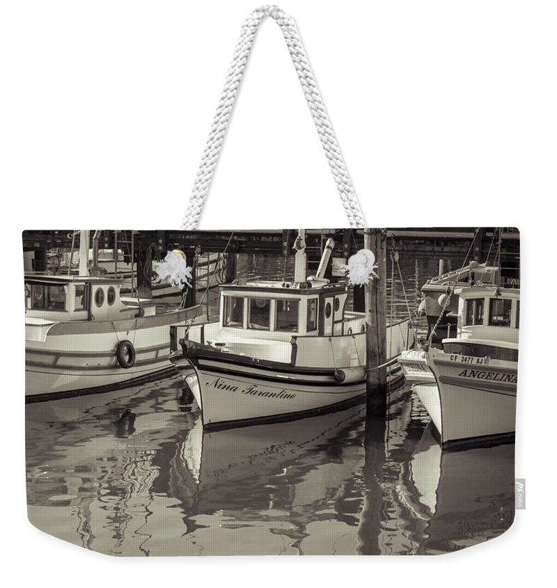 Fishing Boat Weekender Tote Bag featuring the photograph Three Little Boats Sepia by Scott Campbell
