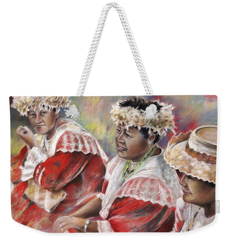 Travel Weekender Tote Bag featuring the painting Three Mamas From Tahiti by Miki De Goodaboom