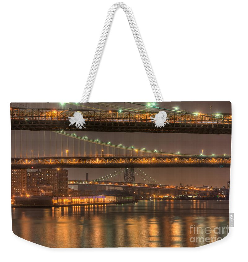 Clarence Holmes Weekender Tote Bag featuring the photograph Three New York Bridges by Clarence Holmes