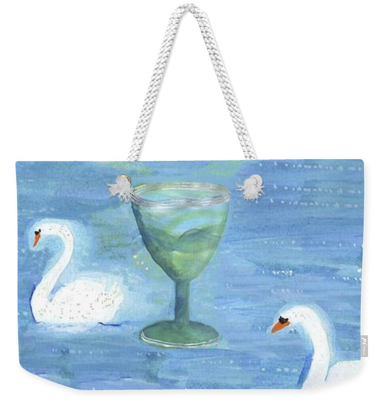 Tarot Weekender Tote Bag featuring the painting Three Of Cups by Sushila Burgess