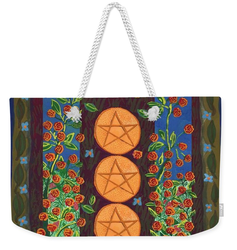 Tarot Weekender Tote Bag featuring the painting Three Of Pentacles by Sushila Burgess