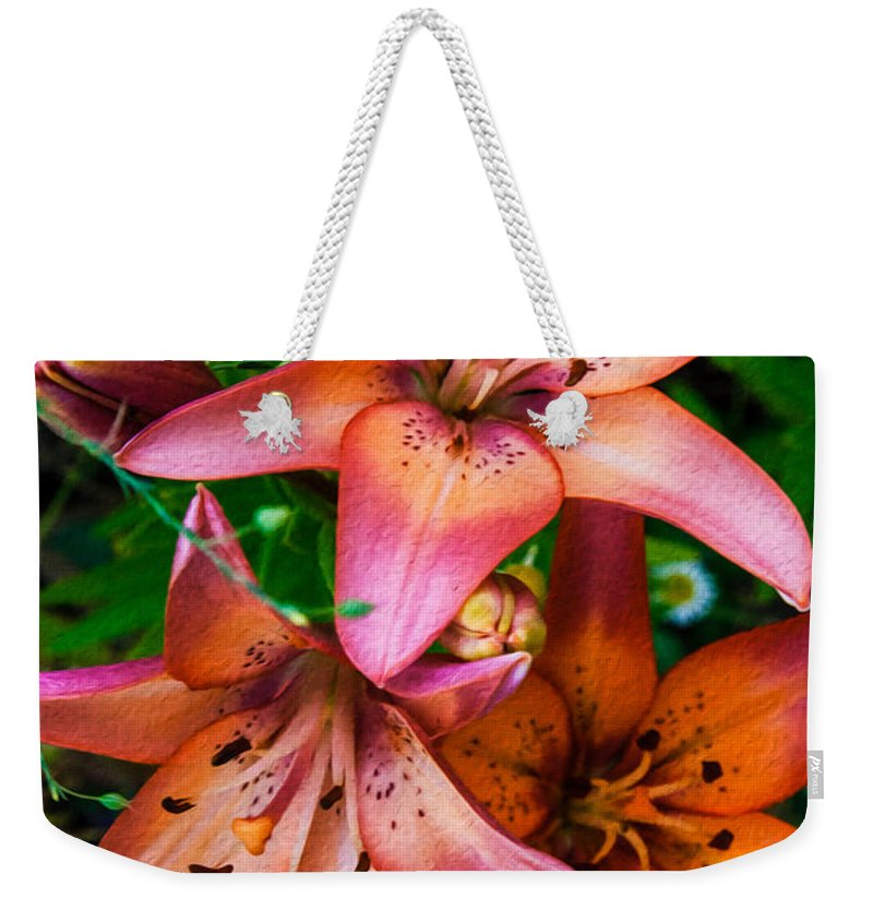 North Cascades Weekender Tote Bag featuring the painting Three Pink Lilies by Omaste Witkowski