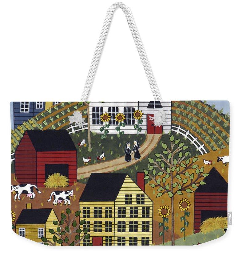 Folk Art Weekender Tote Bag featuring the painting Three Sisters by Medana Gabbard