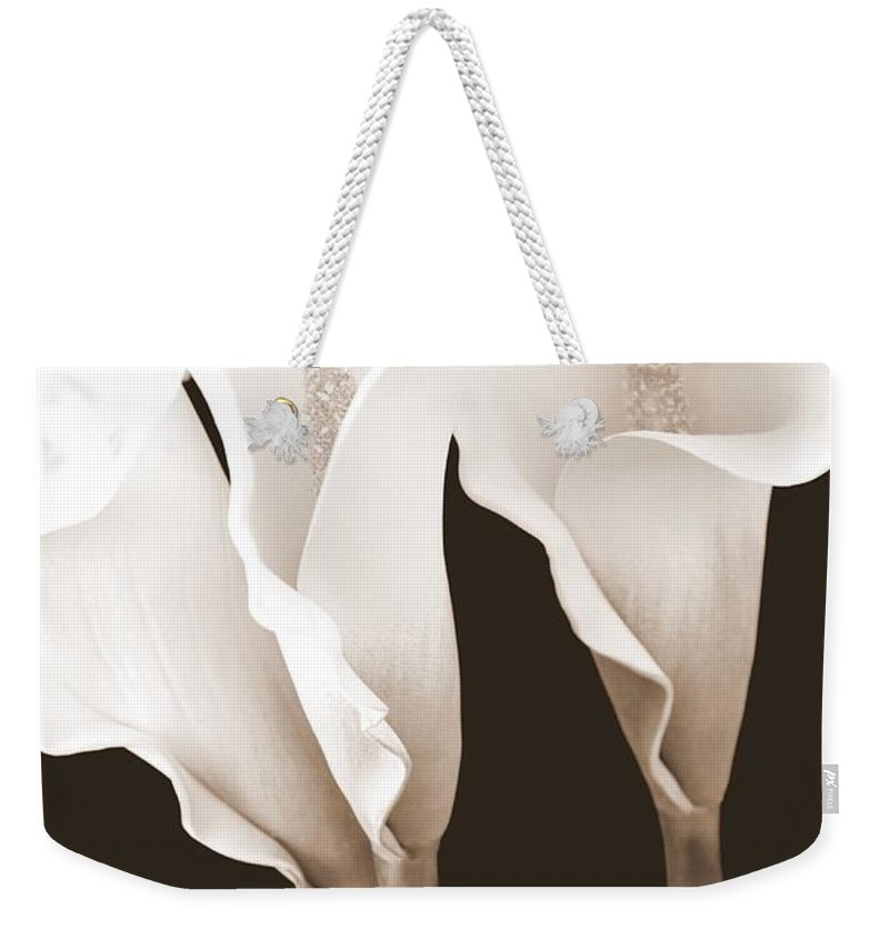 Calla Lily Weekender Tote Bag featuring the photograph Three Tall Calla Lilies In Sepia by Mary Deal