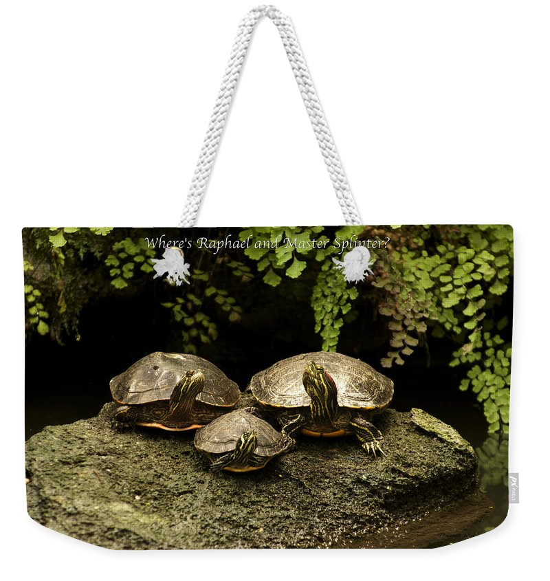 Turtle Weekender Tote Bag featuring the photograph Three Turtles by Thomas Woolworth