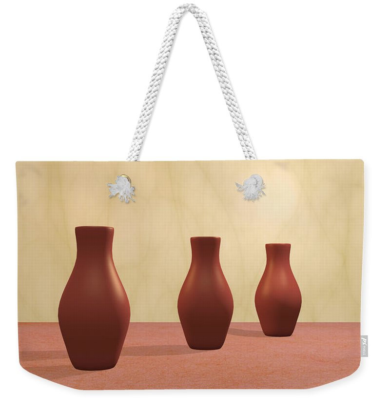 Decorative Weekender Tote Bag featuring the digital art Three Vases by Gabiw Art