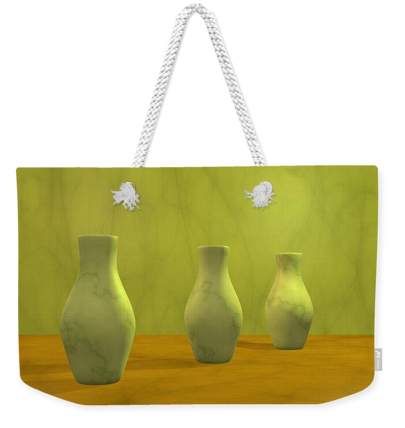 Still Life Weekender Tote Bag featuring the digital art Three Vases II by Gabiw Art