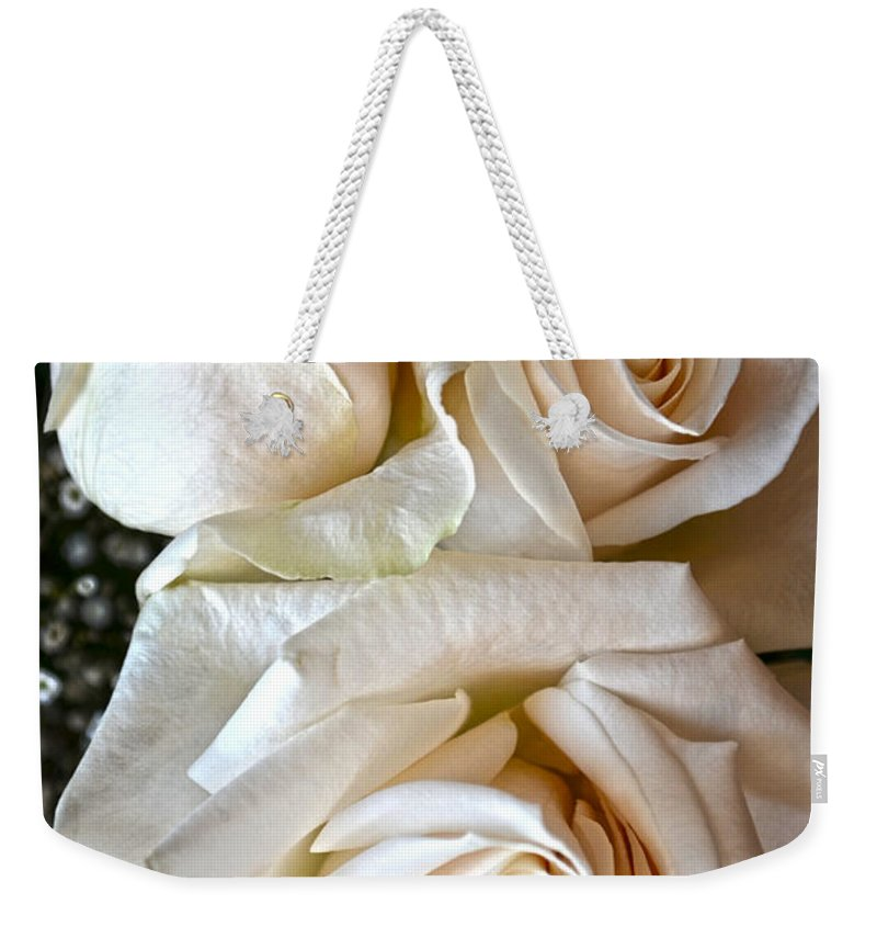 Rose Weekender Tote Bag featuring the photograph Three White Roses by Sandi OReilly