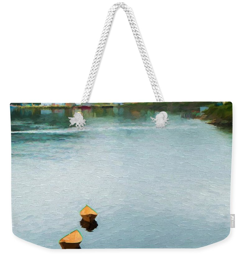 Newfoundland Weekender Tote Bag featuring the photograph Three Yellow Boats by Boss Photographic