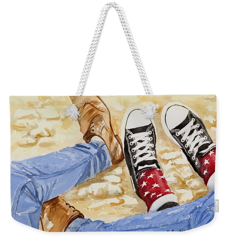 Three's A Crowd Weekender Tote Bag featuring the painting Three's A Crowd by Karen Loughridge KLArt