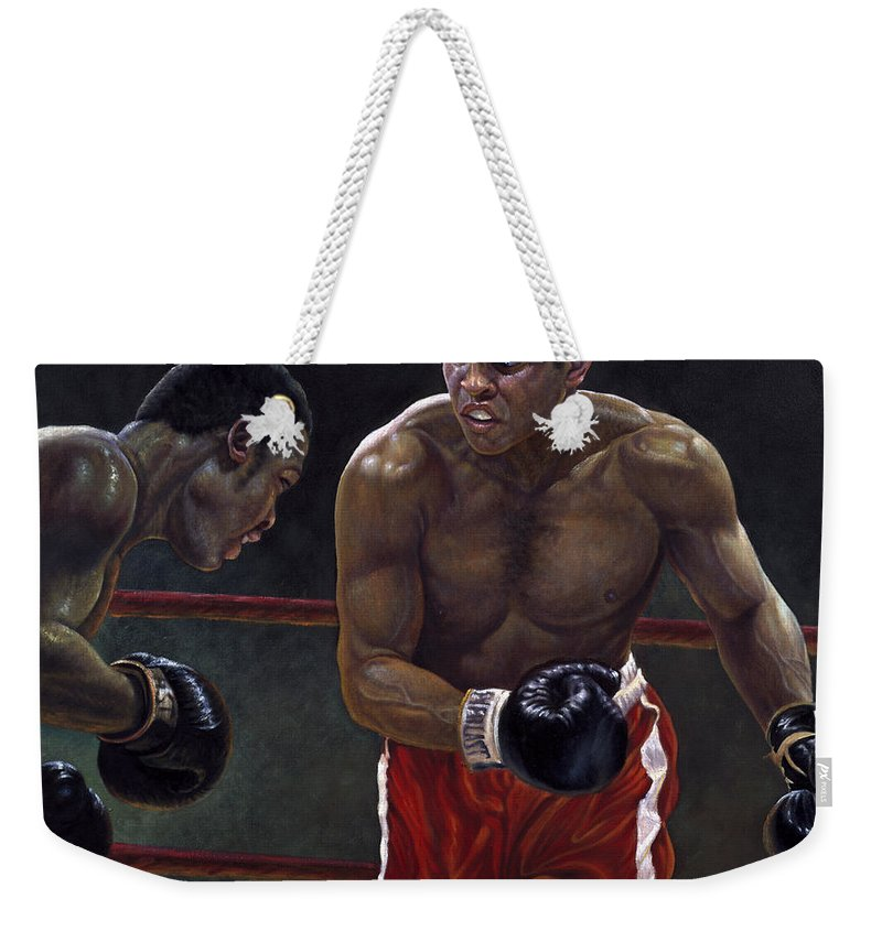 Muhammed Ali Weekender Tote Bag featuring the painting Thrilla In Manilla by Gregory Perillo
