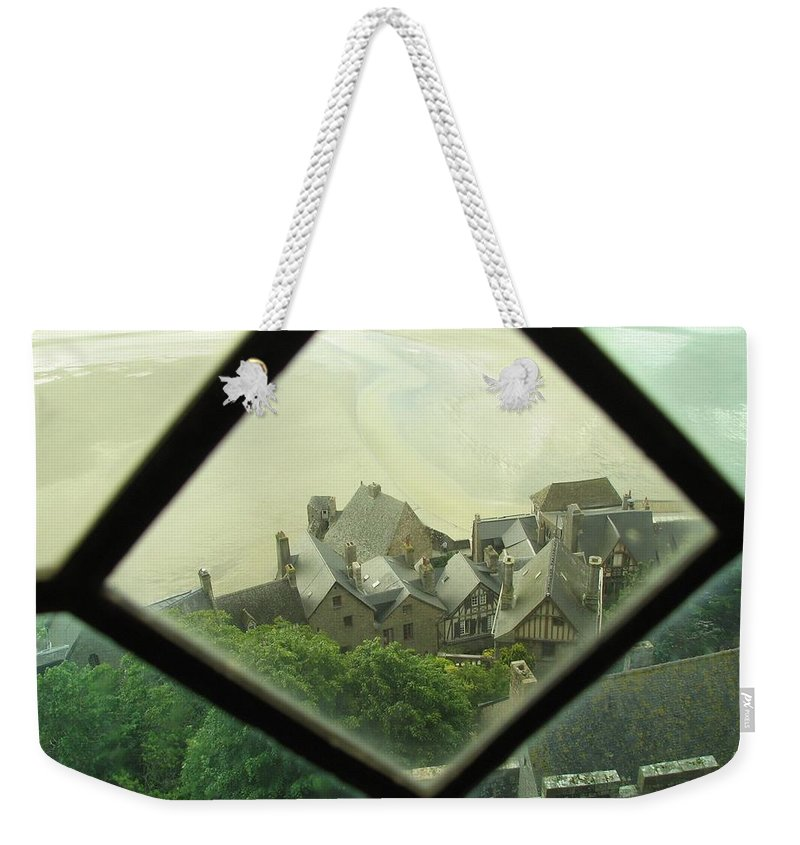 Le Mont St-michel Weekender Tote Bag featuring the photograph Through A Window To The Past by Mary Ellen Mueller Legault