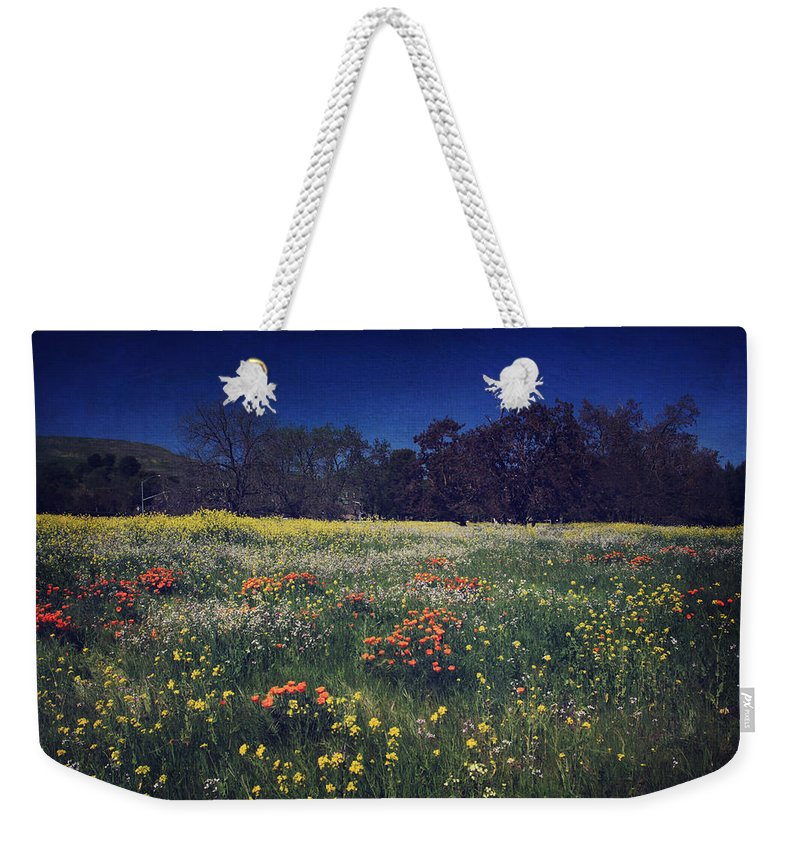 Pleasanton Weekender Tote Bag featuring the photograph Through The Blooming Fields by Laurie Search