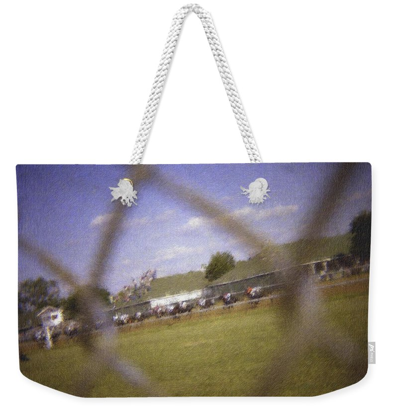 Kentucky Derby Weekender Tote Bag featuring the photograph Through The Fence Pastel Chalk 2 by David Lange
