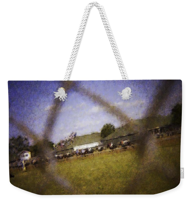 Kentucky Derby Weekender Tote Bag featuring the photograph Through The Fence Water Color by David Lange