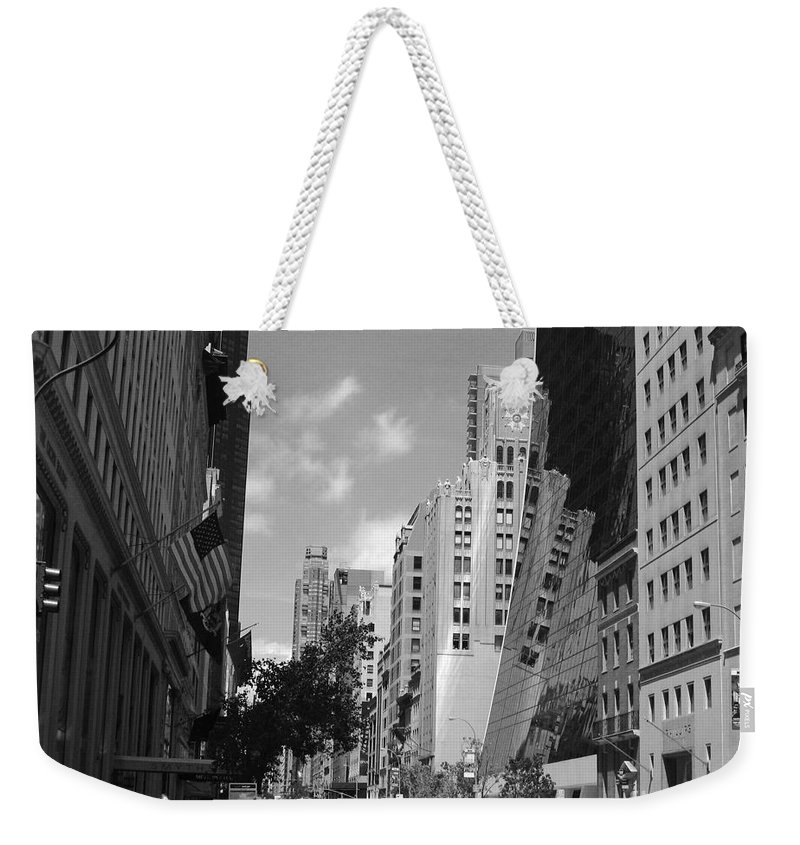 New York City Weekender Tote Bag featuring the photograph Through The Looking Glass In Black And White by Meghan at FireBonnet Art