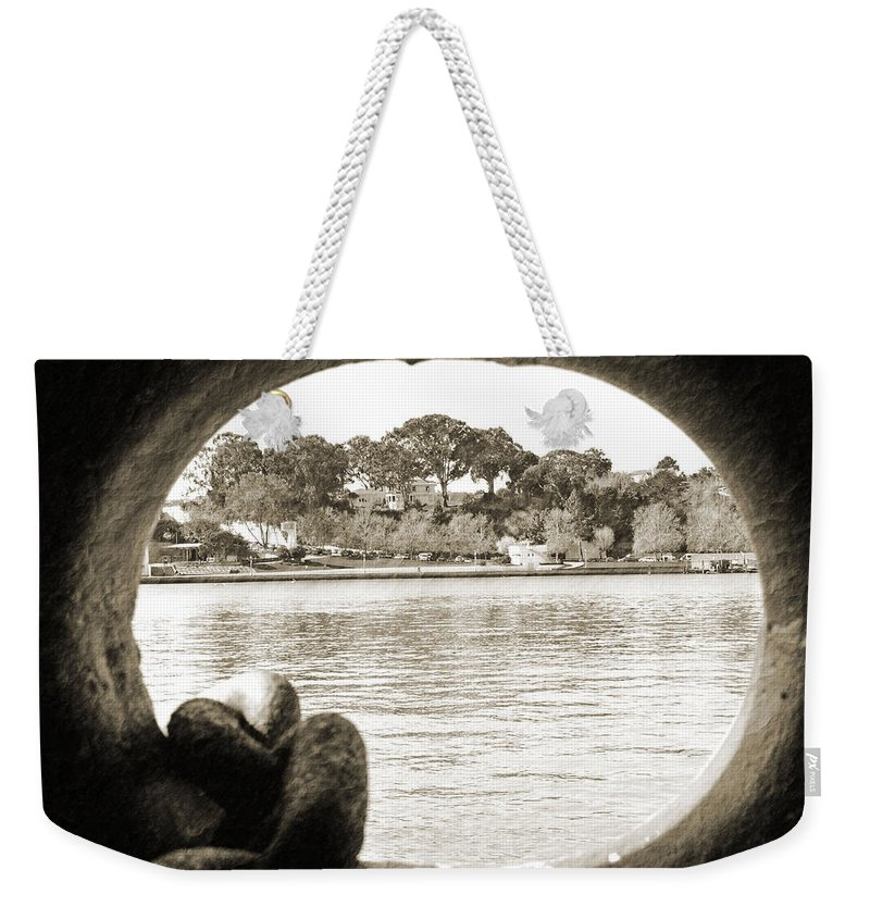 Hole Weekender Tote Bag featuring the photograph Through The Porthole by Holly Blunkall