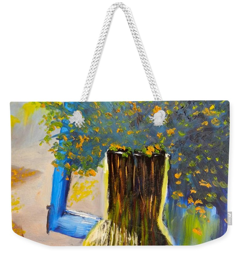 Nature Weekender Tote Bag featuring the painting Through The Window by Pamela Meredith