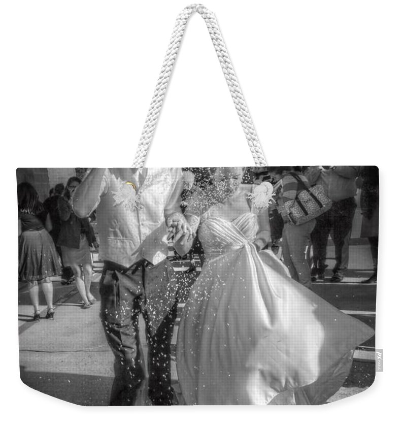 Portaits Weekender Tote Bag featuring the digital art Throwing The Rice by Linda Unger