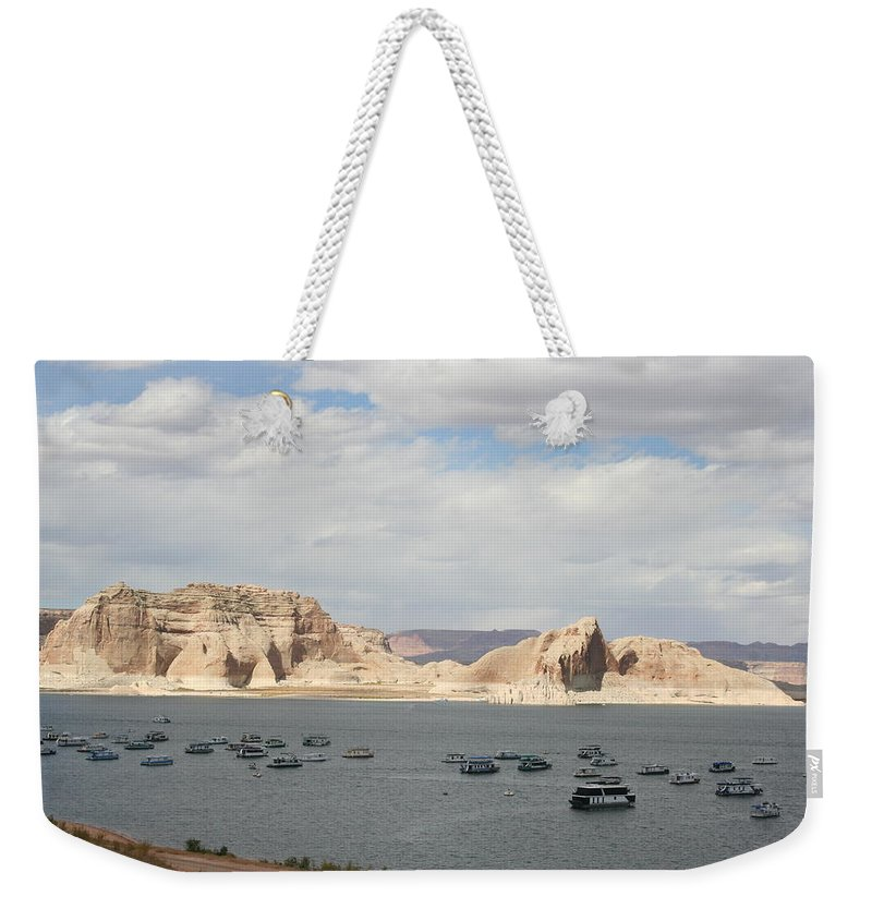 Lake Weekender Tote Bag featuring the photograph Thunderstorm Atmosphere Over Lake Powell by Christiane Schulze Art And Photography