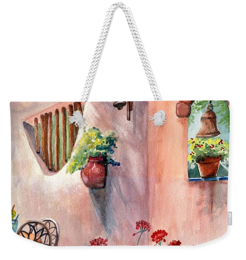 Tia Rosa's Weekender Tote Bag featuring the painting Tia Rosa's by Marilyn Smith