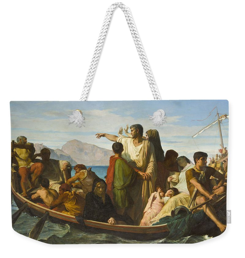 Felix-joseph Barrias Weekender Tote Bag featuring the painting Tiberius Exiles by Felix Joseph Barrias