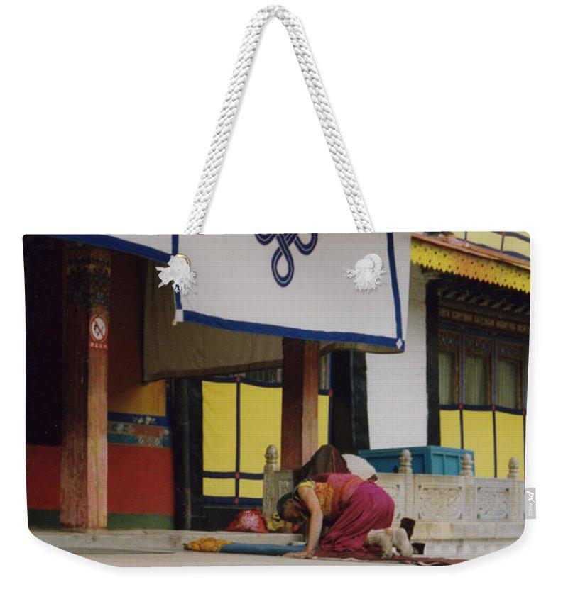 Tibet Weekender Tote Bag featuring the photograph Tibet Prayer 1 by First Star Art