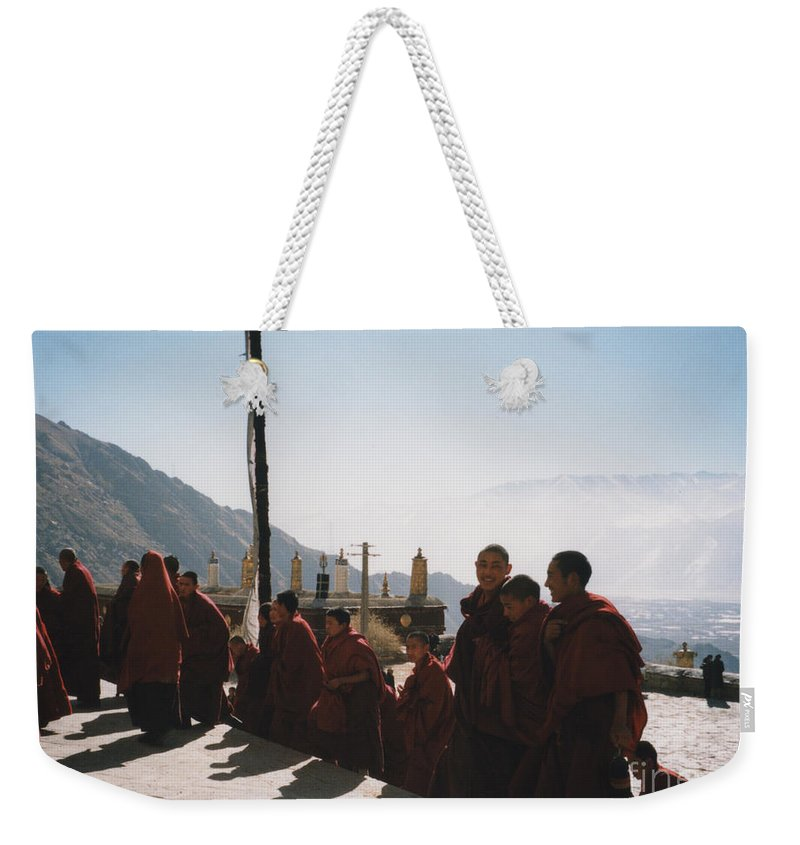 First Star Weekender Tote Bag featuring the photograph Tibetan Monks 2 by First Star Art